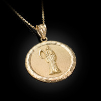 Yellow Gold Santa Muerte Medallion Pendant Necklace