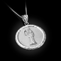 White Gold Santa Muerte Medallion Pendant Necklace