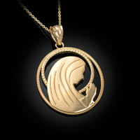 Yellow Gold Virgin Mary Silhouette Pendant Necklace