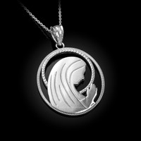 White Gold Virgin Mary Silhouette Pendant Necklace