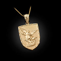Yellow Gold St. Michael Shield Pendant Necklace
