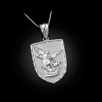 White Gold St. Michael Shield Pendant Necklace