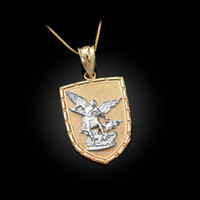 Two-Tone Yellow Gold St. Michael Shield Pendant Necklace