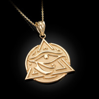 Yellow Gold Eye of Horus Illuminati Pendant Necklace
