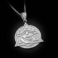 White Gold Eye of Horus Illuminati Pendant Necklace