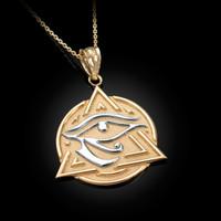 Two-Tone Yellow Gold Eye of Horus Illuminati Pendant Necklace