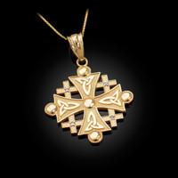 Yellow Gold Jerusalem Cross Diamond Pendant Necklace