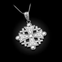 White Gold Jerusalem Cross Diamond Pendant Necklace