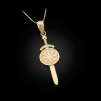 Yellow Gold Viking Sword Pendant Necklace