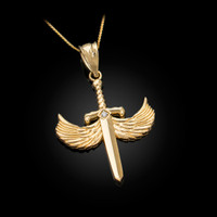 Yellow Gold Hot Wings Diamond Sword Pendant Necklace