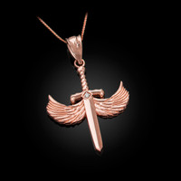 Rose Gold Hot Wings Diamond Sword Pendant Necklace