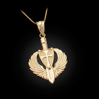 Yellow Gold Crusader Winged Sword and Shield Pendant Necklace