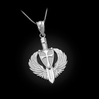White Gold Crusader Winged Sword and Shield Pendant Necklace