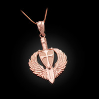 Rose Gold Crusader Winged Sword and Shield Pendant Necklace