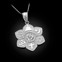 White Gold Lotus of Peace Diamond Pendant Necklace