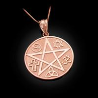 Rose Gold Multicultural Pentacle Medallion Pendant Necklace
