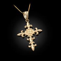 Yellow Gold Fleur de Lis Cross Pendant Necklace