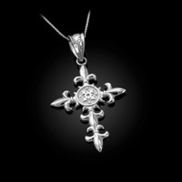 White Gold Fleur de Lis Cross Pendant Necklace