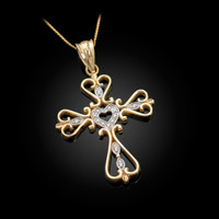 Open Heart Diamond Cross Gold Pendant Necklace