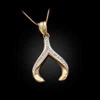 Yellow Gold Diamond Wishbone Pendant Necklace