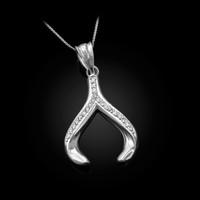 White Gold Diamond Wishbone Pendant Necklace