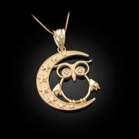 Gold Night Owl Diamond Pendant Necklace