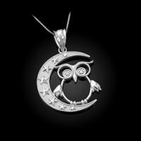 White Gold Night Owl Diamond Pendant Necklace