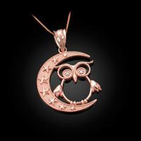 Rose Gold Night Owl Diamond Pendant Necklace