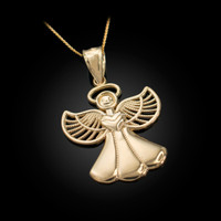 Yellow Gold Filigree Love Angel Pendant Necklace