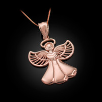 Rose Gold Filigree Love Angel Pendant Necklace