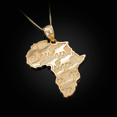 Yellow Gold Africa Pendant Necklace