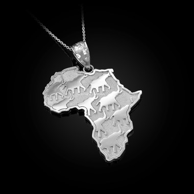 White gold Africa pendant necklace