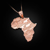 Rose gold Africa pendant necklace