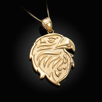Gold eagle head pendant necklace