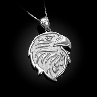 White Gold eagle head pendant necklace