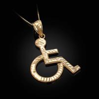 Yellow Gold Handicap Sign Wheelchair Emoji DC Pendant Necklace