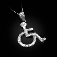 White Gold Handicap Sign Wheelchair Emoji DC Pendant Necklace