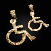 Yellow Gold Handicap Sign Wheelchair Emoji DC Pendant (Small / Large)