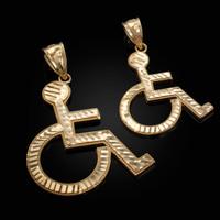 Yellow Gold Handicap Sign Wheelchair Emoji DC Pendant (Small / Large)