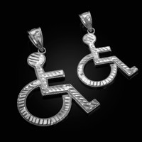 White Gold Handicap Sign Wheelchair Emoji DC Pendant (Small / Large)