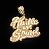 Yellow Gold HUSTLE AND GRIND Hip-Hop DC Pendant