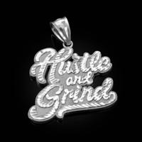 White Gold HUSTLE AND GRIND Hip-Hop DC Pendant