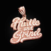 Rose Gold HUSTLE AND GRIND Hip-Hop DC Pendant
