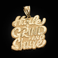 Yellow Gold HUSTLE, GRIND AND SHINE Hip-Hop DC Pendant
