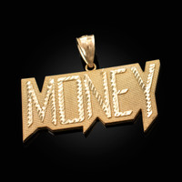 Yellow Gold MONEY Hip-Hop DC Pendant
