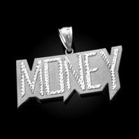 White Gold MONEY Hip-Hop DC Pendant
