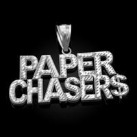 White Gold PAPER CHASER$ Hip-Hop DC Pendant