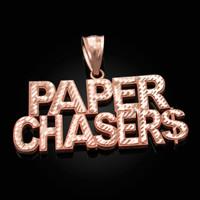 Rose Gold PAPER CHASER$ Hip-Hop DC Pendant