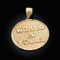 Yellow Gold WORLD IS YOURS DC Medal Pendant