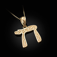 Yellow Gold Jewish Chai Pendant Necklace
